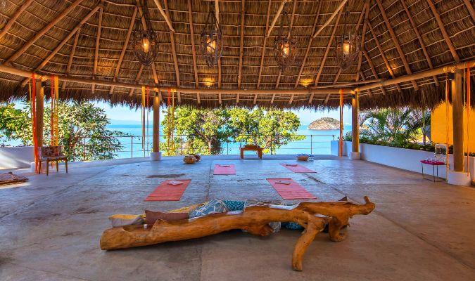 The yoga studio at Villa Mandarinas, an example of a luxury villa
