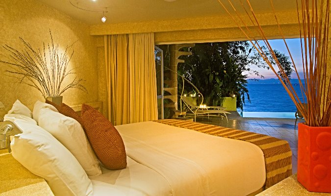 The bedroom in The Beach House