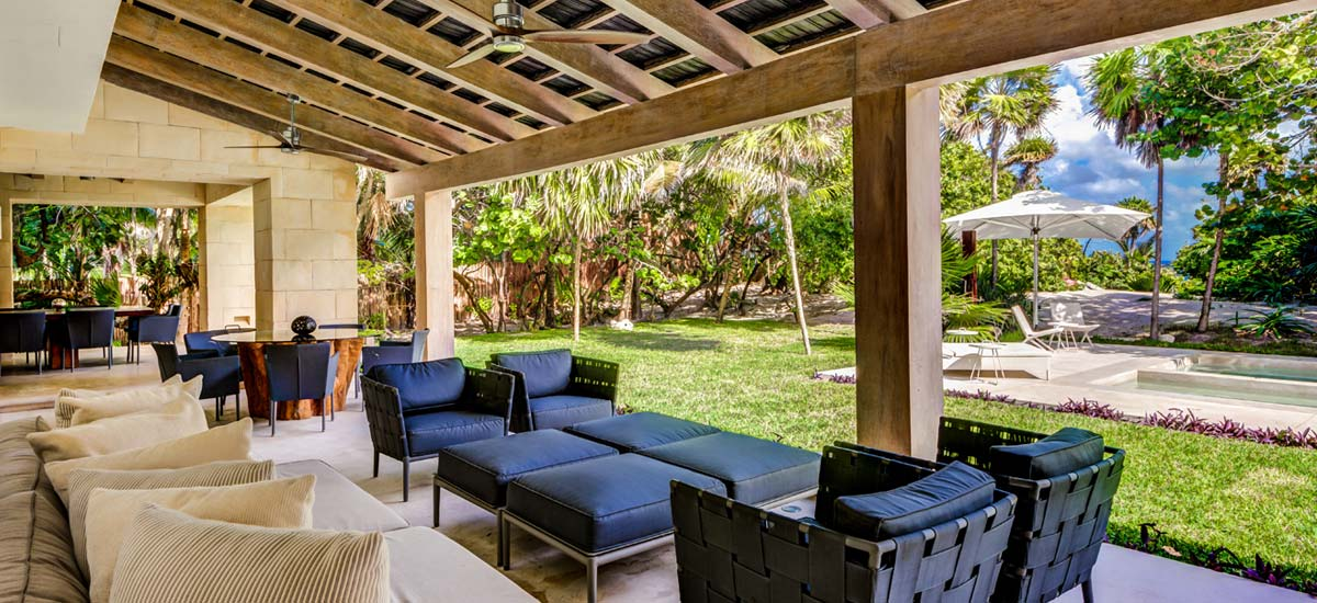 casa ixchel pool outdoor living area