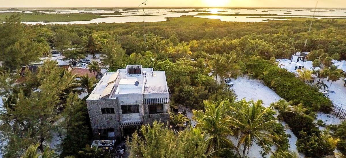 casa maya kaan aerial view sunset
