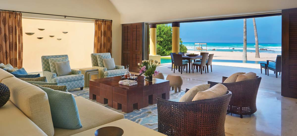 coral villa living area beach front