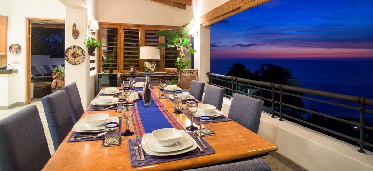 villa lucia balcony dining with view