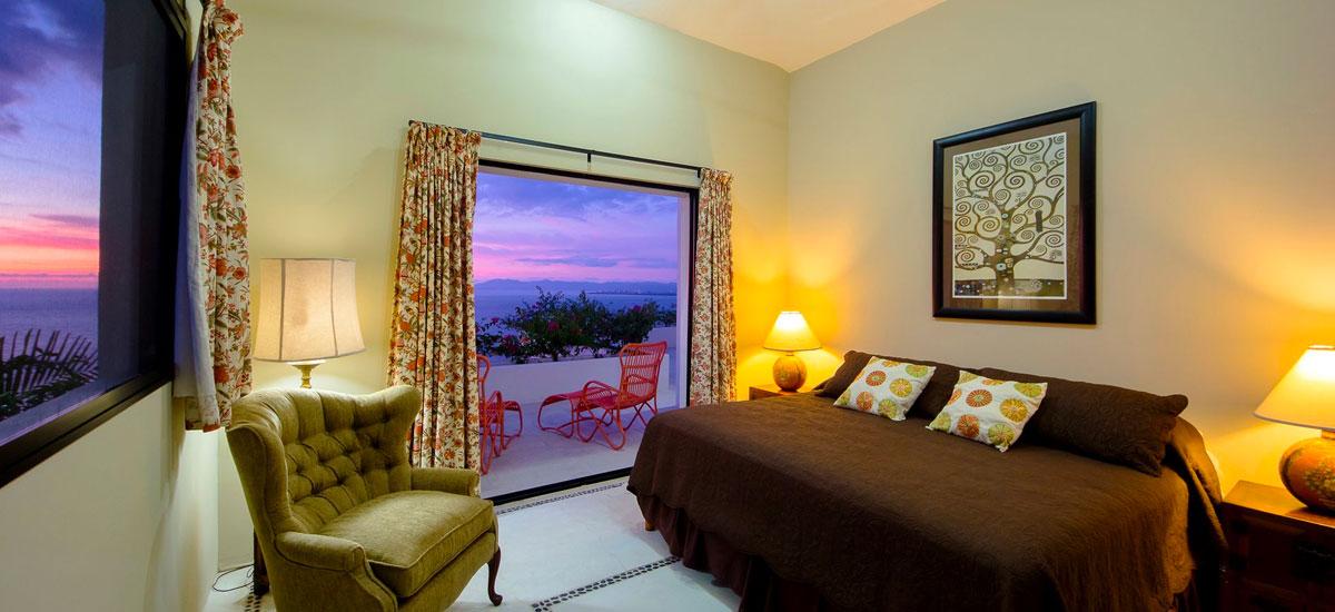 villa punta del cielo bedroom sunset